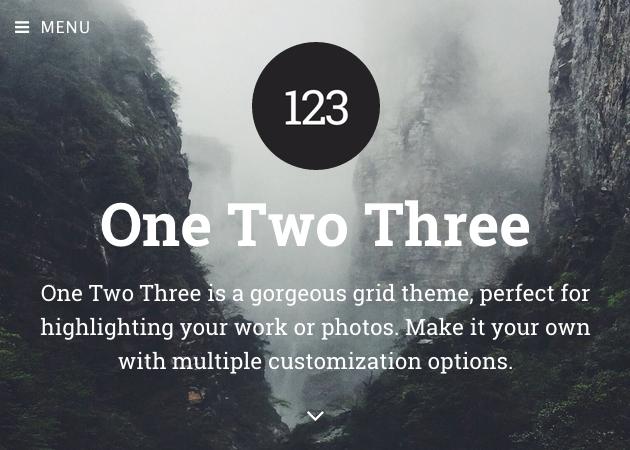 One Two Three - 写真用のポートフォリオにおすすめ。ダイナミックなヘッダーがクール。