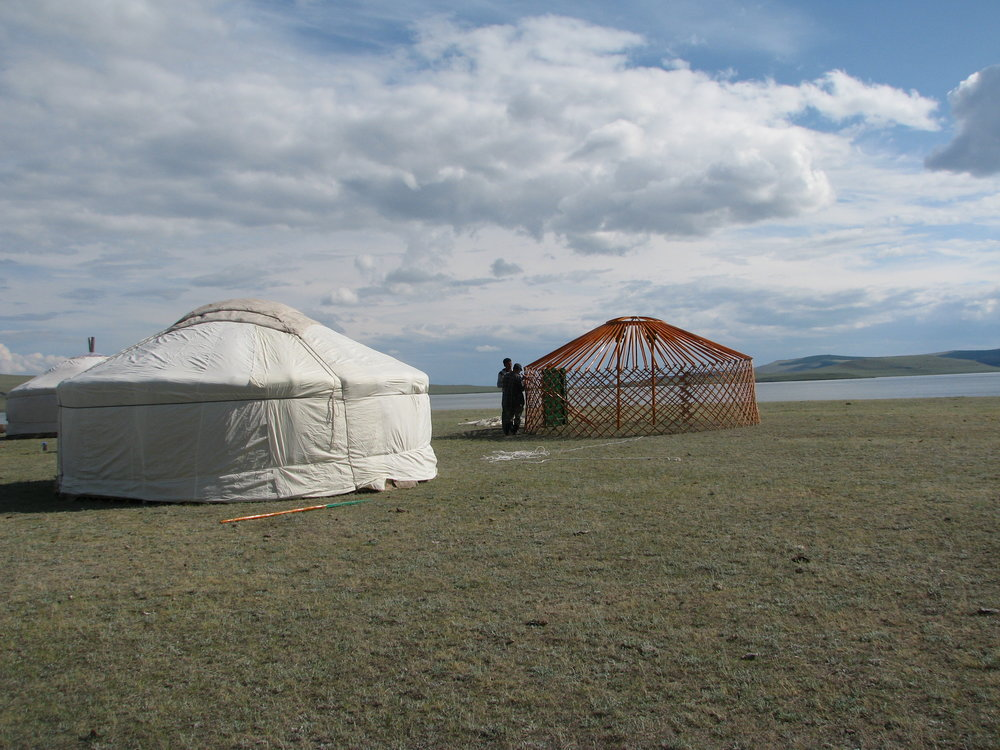 Traditional Mongolian Gers being set up in Northern Mongolia