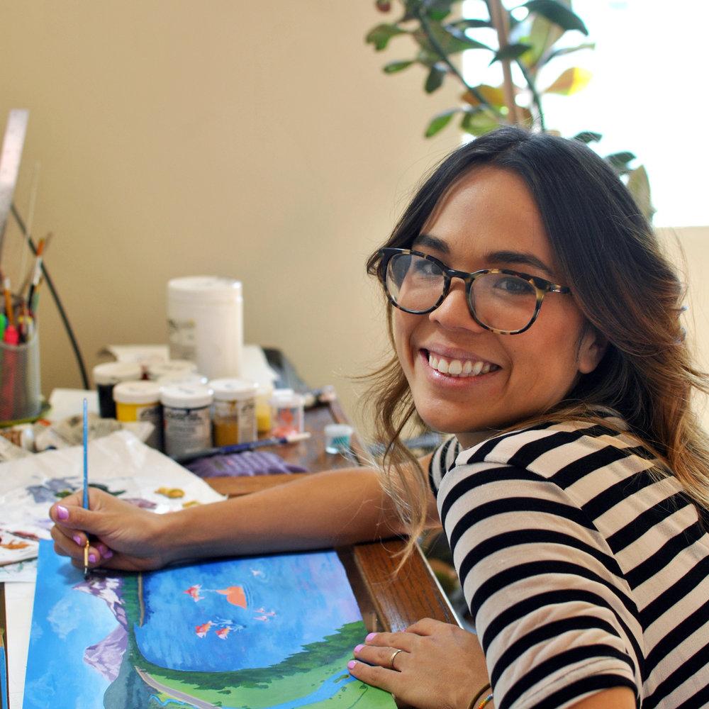 Author painting in studio (square).jpg