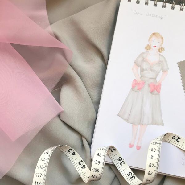 How my original sketch looked in my  Gertie's New Fashion Sketchbook