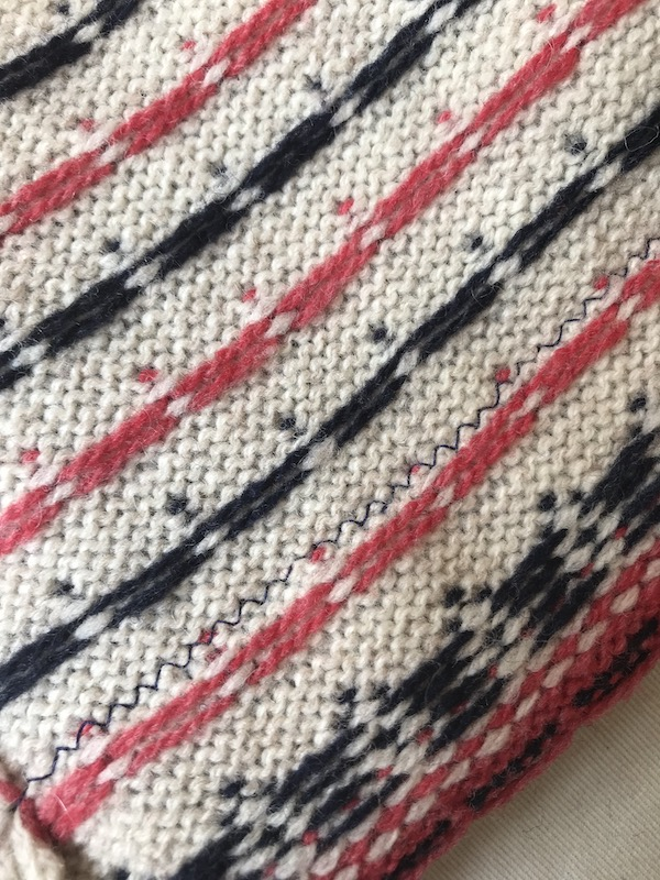 I used a zigzag stitch, to allow the knit to stretch and avoid popped seams.