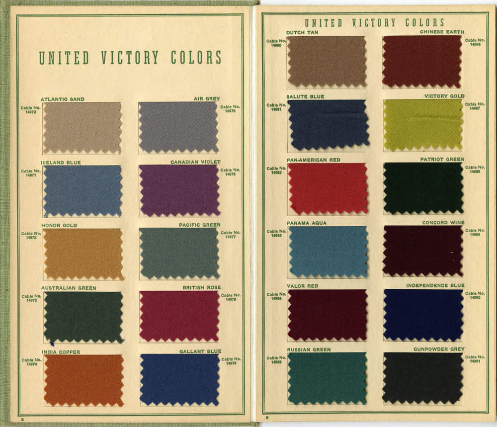1942 Fall Season Woollen Color Card of America, issued by the Textile Color Card Association of the United States   Image source:    The Design Centre