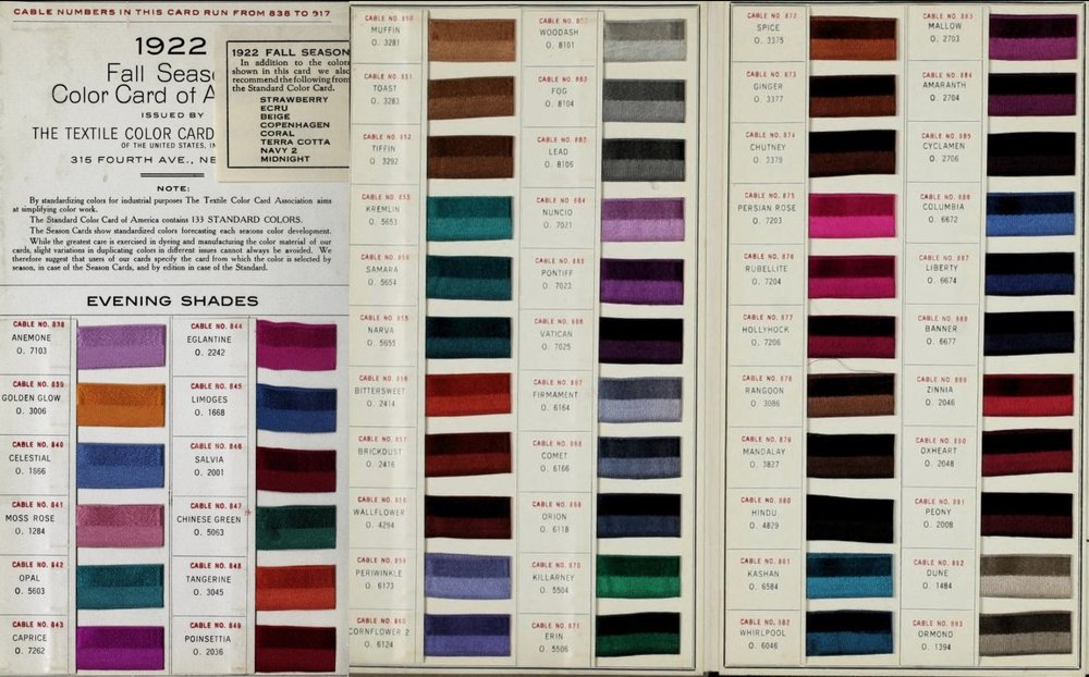 1922 Fall Season Color Card of America, issued by the Textile Color Card Association of the United States   Image source:    Archive.org