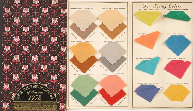 Spring season color card of America 1952, issued by the Textile Color Card Association of the United States   Image source:    FIT Newsroom