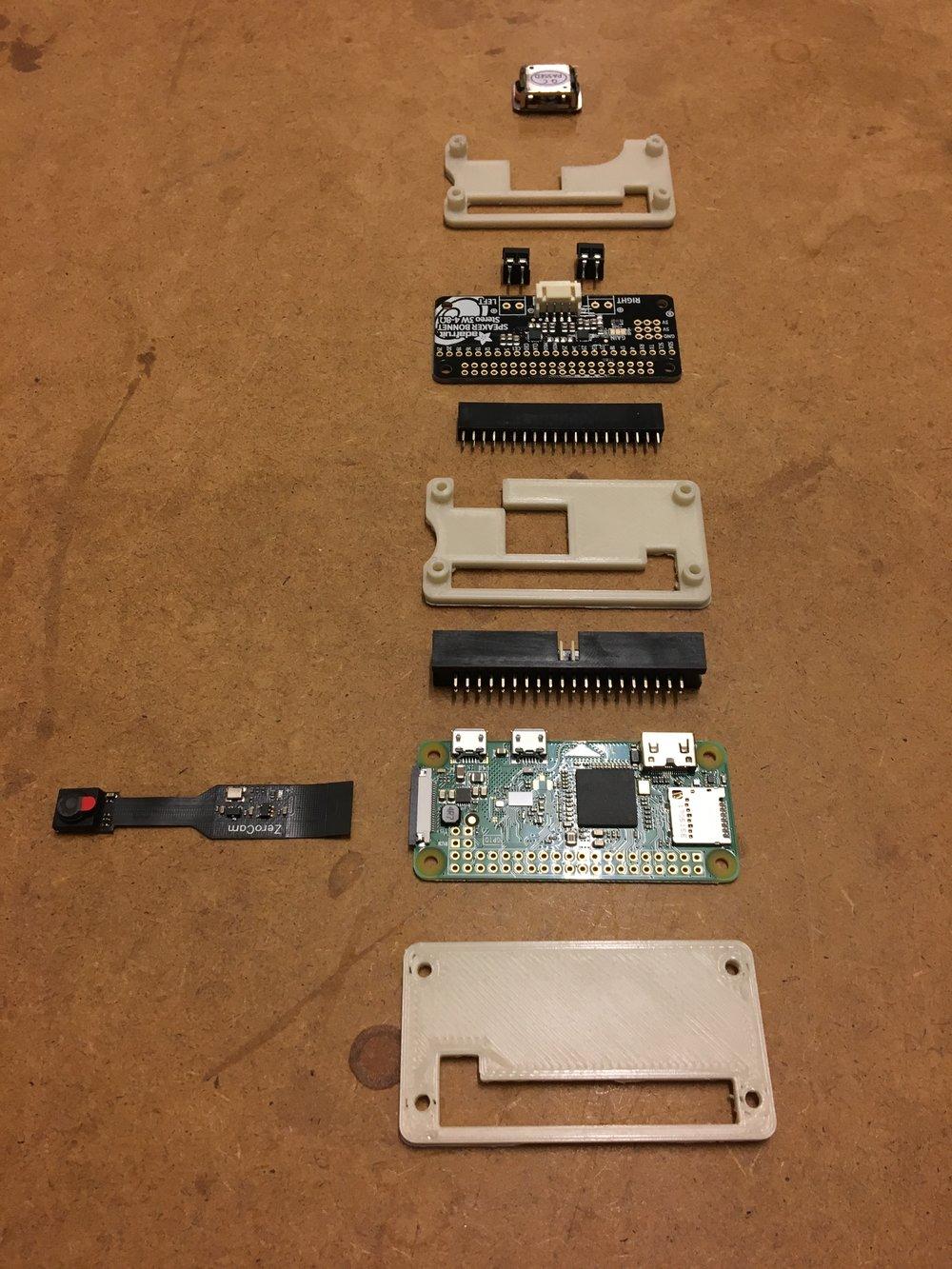 Transduser, micro-computer og kamera
