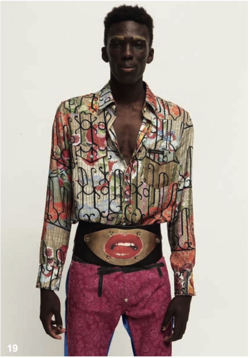 Current silk ties caught my attention, too, and doppio-gorg' printed shirt from Andreas K collection.  Other bits from SS18 that am diggin' include the tribute to Versace print shirt, and finding  Western collar thing, too- (are Western collars gonna be a thing?) -