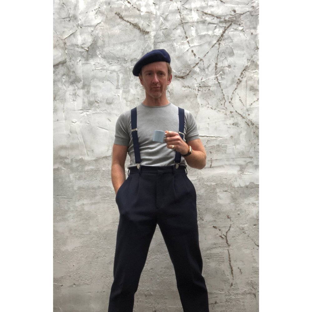 styleanderror  #espressostance  No.68A checking out spankers new batch of  @johnsmedleyknitwear  cotton 'Belden' knit tops- simple but brilliant mens piece that bang love. Also  @josephfashion  navy pleated strides  @lockhatters  navy Basque beret and navy braces off the internet, £7! Duo-Time 'Reverso' by  @jaegerlecoultre  is a little more spenny however. Cup is  @wedgwood  and I actually own it.  #FrenchNavy   #Reverso   #johnsmedley  📸 by  #poorconor  as evs  #beretsareathing
