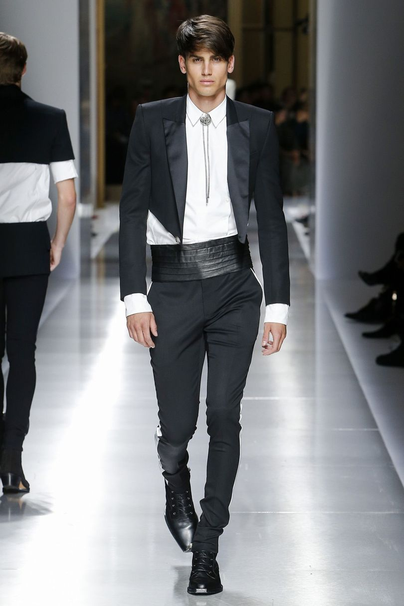 Balmain evening wear with Bolo tie - A little snake-hip Western waiter, but chic still.