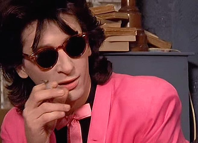 Johnny Thunders off of New York Dolls in double strong pink. Double diggin' this. -