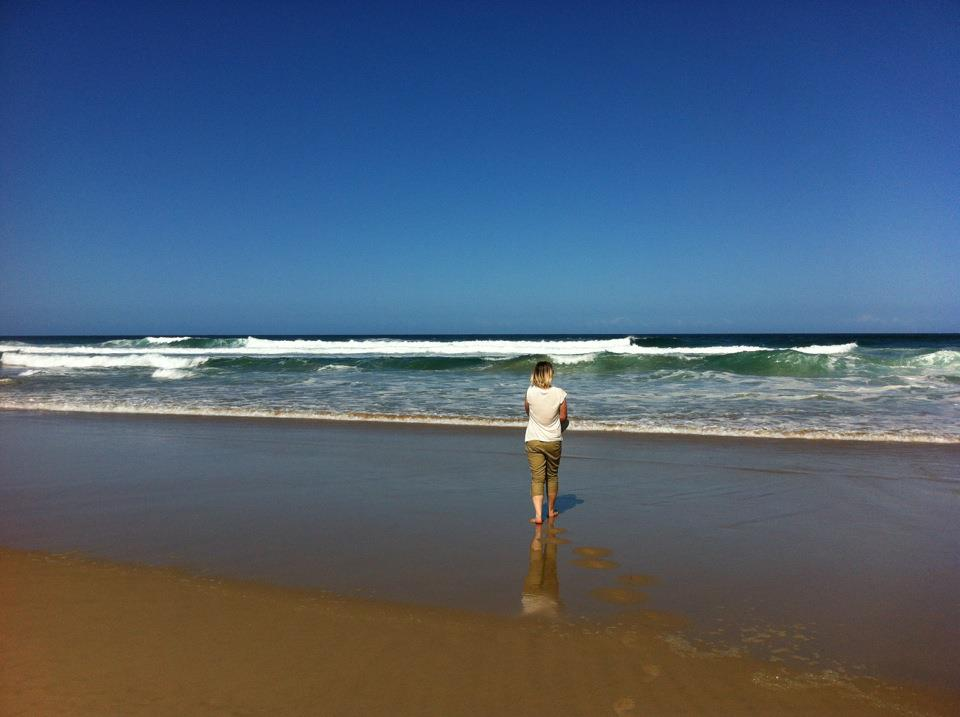 Copy of Triin on the beautiful sandy beach in Wilderness, South Africa