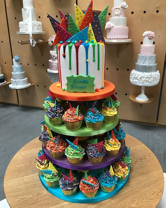 I just love bright colours, this fab cake and cupcakes was for a gorgeous little boys Christening, we made his mum and dads wedding cake too a couple of years ago and that was really colourful to #dripcake #sugarshards