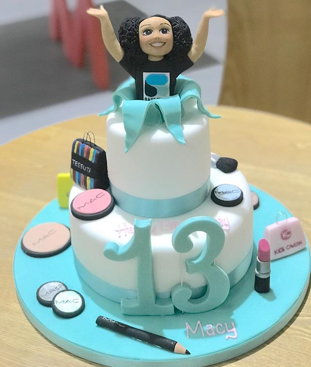 #13thbirthday #cake to celebrate a lovely young lady becoming a #teenager She is wearing her @rareliverpool dance top, shopping bags from her favourite shops including @kidscavern, and #macmakeup