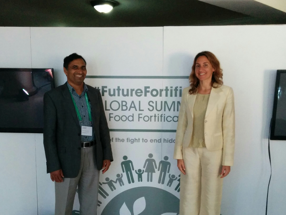 LEFT - Dr. Sarma C. Mallubhotla, Program Manager for Health, Nutrition, and Agriculture. RIGHT - Ms. Patrizia Fracassi, Senior Nutrition Analyst and Policy Advisor, Scaling Up Nutrition Movement Secretariat (Office of the Special Representative for Food Security and Nutrition, Geneva).