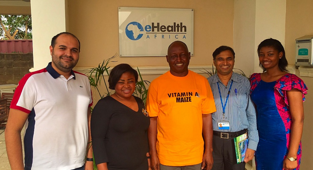 L-R: Atef Fawaz Deputy (Country Director eHA), Ifeoma Okoye (Communications Manager HarvestPlus), Paul Ilona (Country Director HarvestPlus), Sarma Mallubhotla (Nutrition and Food Security Program Manager eHA), Stephanie Okpere (Project Coordinator eHA).