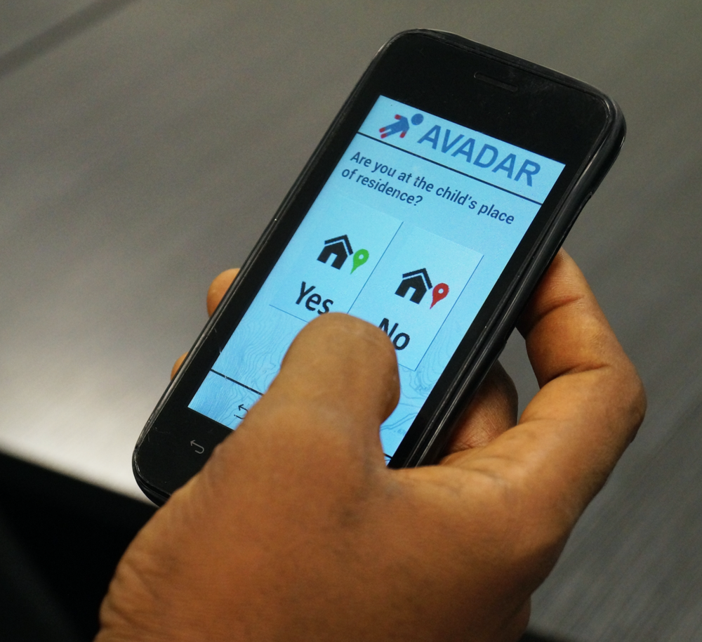 Each Android device has the AVADAR app that HCWs can use to report suspected AFP cases. Photo: Ojabo Daniel, Media Coordinator, eHealth Africa
