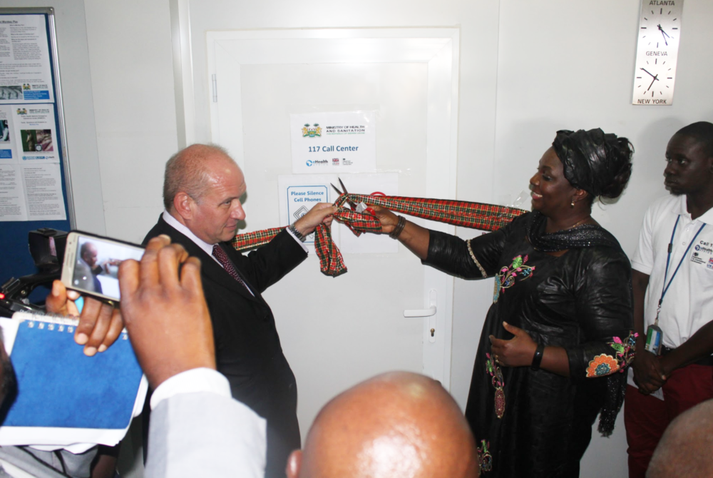 The British High Commissioner to Sierra Leone and the Deputy Minister of Health from the MoHS complete the official ribbon-cutting ceremony. Photo: Hawa Kombian, eHA