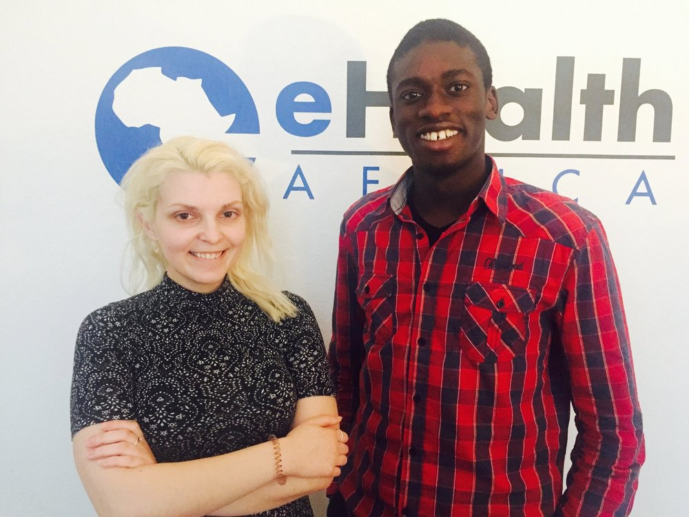 First day at the Berlin office. L-R: Natalya Nepomnyashcha (Internship Supervisor, Berlin) and Yaya Jaiteh