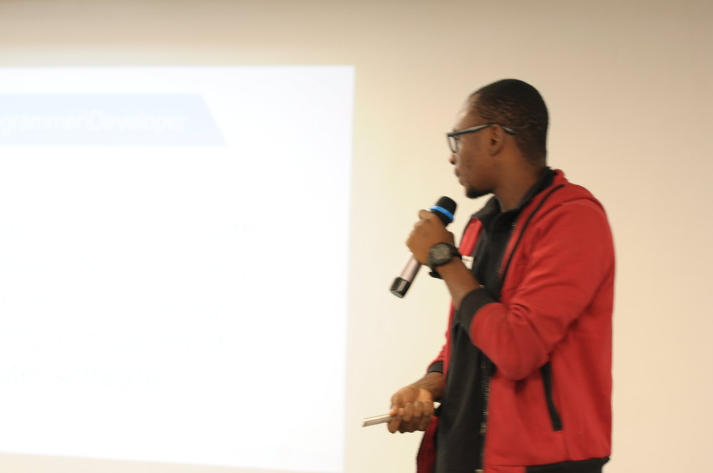 The first speaker, Umar Saidu kicked off the event with his presentation: Mastering Software Development