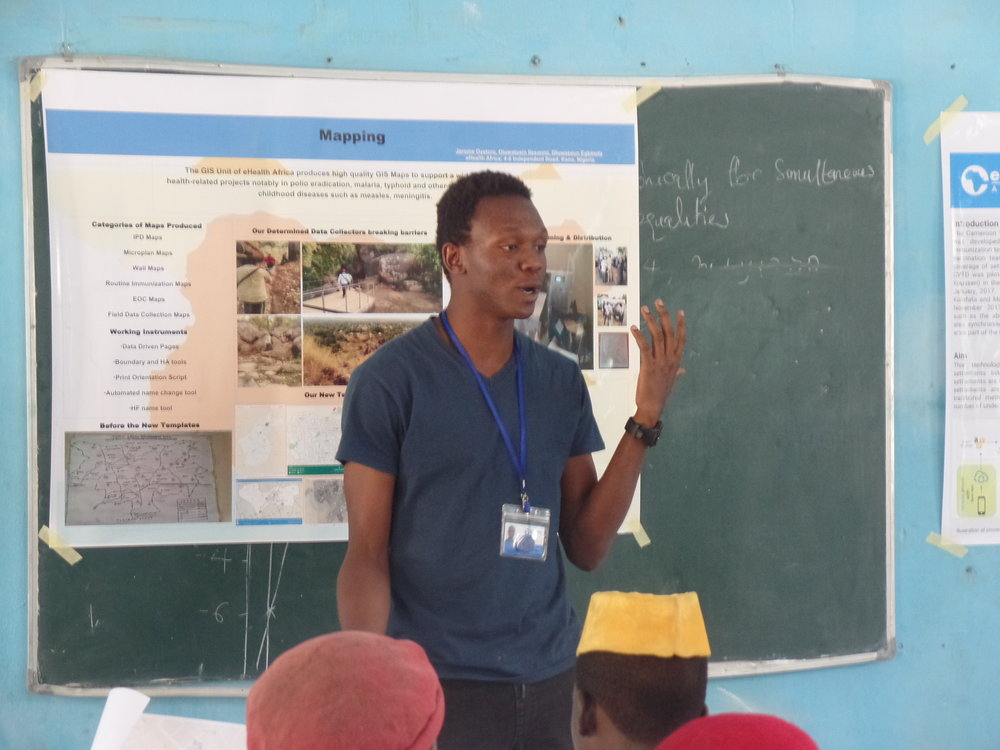 eHA staff, Dennis, highlights the benefits of learning and using GIS technology at a young age. He also talked about eHA's contribution to road mapping in Kano & Nigeria through the use of OpenStreetMap, which is available for free.