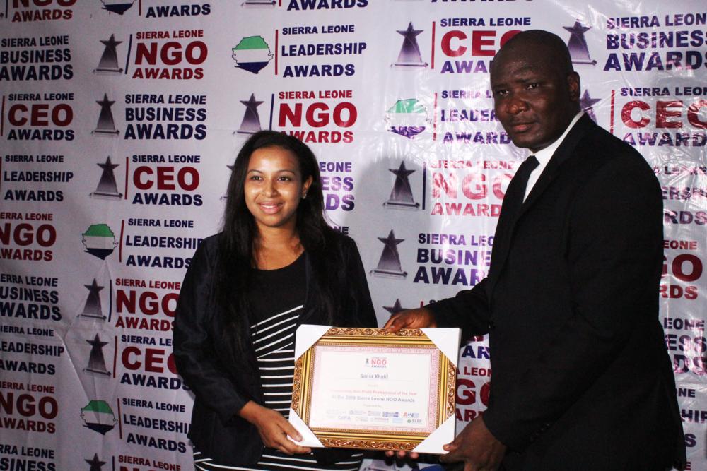 Sonia Khalil receiving her award.