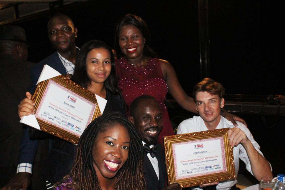 eHA's Sierra Leone team with the awards.