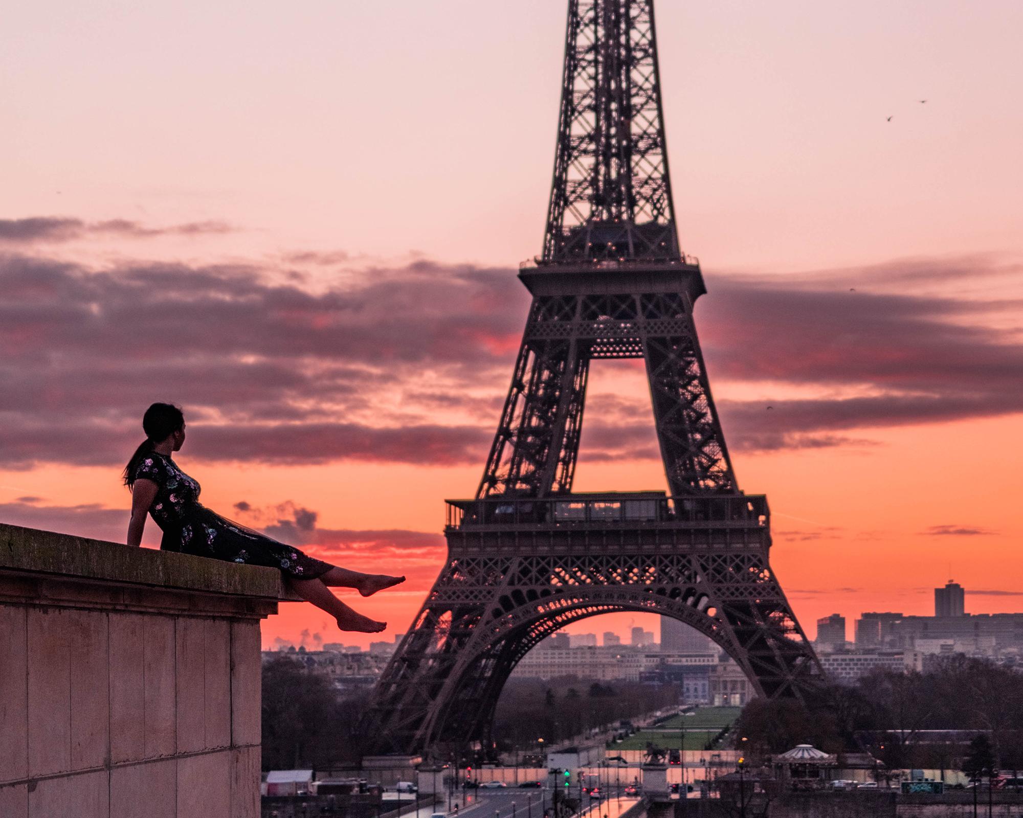 Girls Socks Mid-Calf Eiffel Tower Sunset Winter Hot For Thanksgiving Day