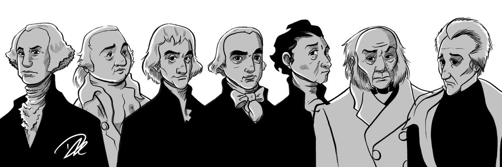 Washington, Adams, Jefferson, Madison, Monroe, Adams, and Jackson. Bimoji pen.