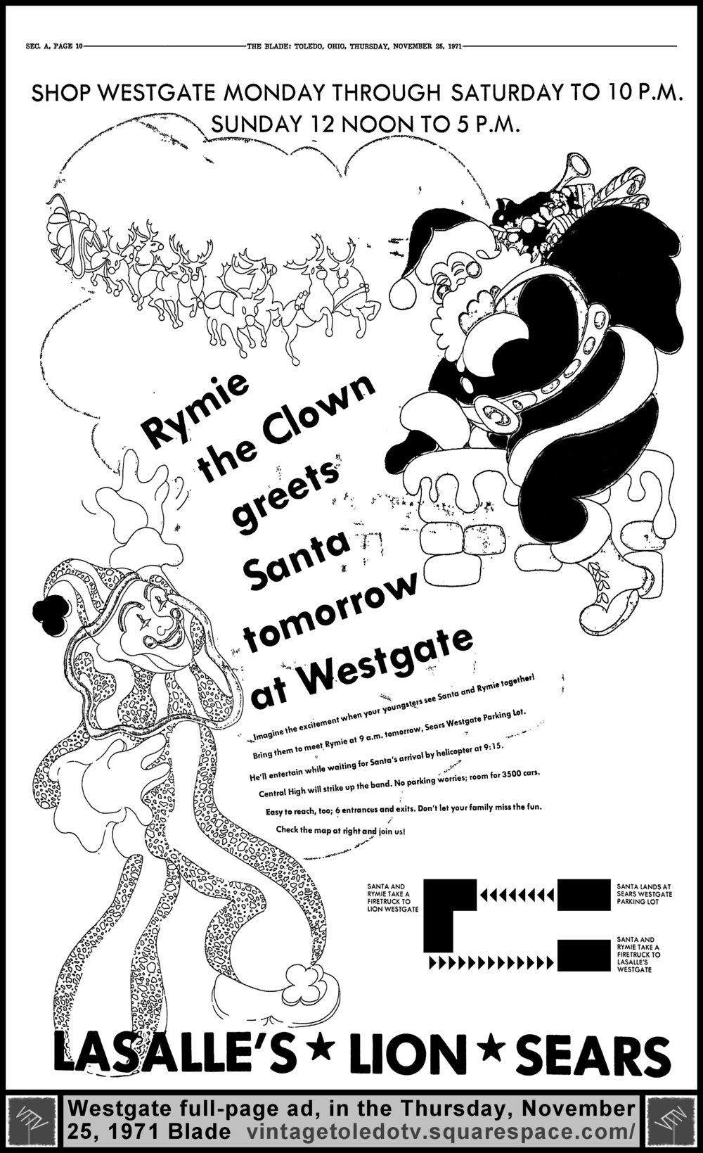 multiple image galleries 1971 Sears Christmas Catalog rymie the clown greets santa tomorrow at westgate thursday 11 25 71