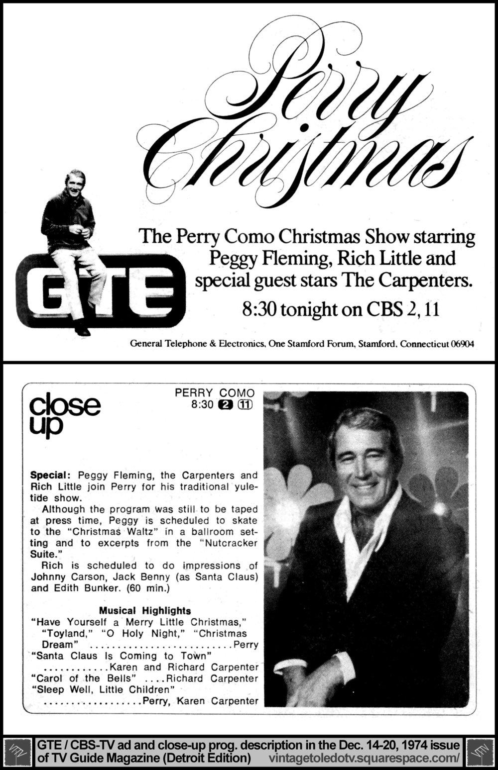 perry christmas the perry como christmas show on cbs wtol tv 11 - Perry Como Christmas Show