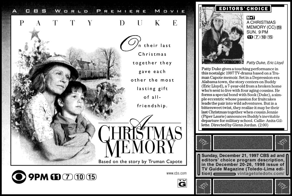 cbs world premiere movie a christmas memory on cbs wtol tv - A Christmas Memory 1997
