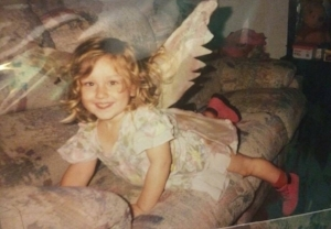 Eryn in one of her first pairs of wings