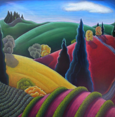 Big Pink Hill by Oregon wine country artist  Jane Aukshunas