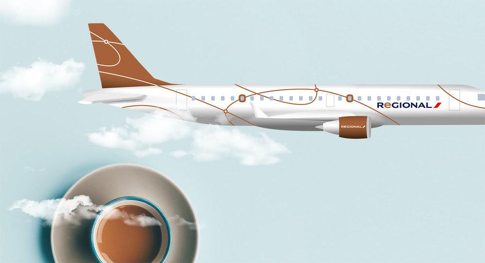 Habillage graphique d'un Embraer de la flotte Regional - Regional / Groupe Air France