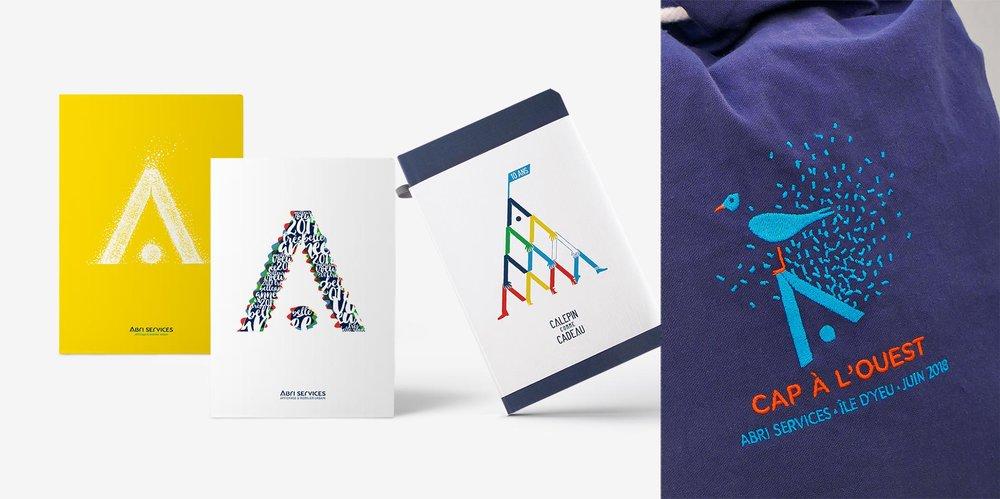 """Déclinaison graphique autour du """"A"""", élément identitaire d'un logotype d'entreprise - Abri Services"""