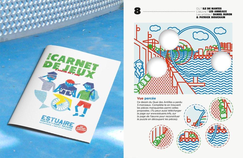 Carnet de jeux pour enfants autour d'œuvres d'artistes : couverture et quelques-unes des illustrations en pages intérieures -  Estuaire Nantes Saint-Nazaire, Le Voyage à Nantes