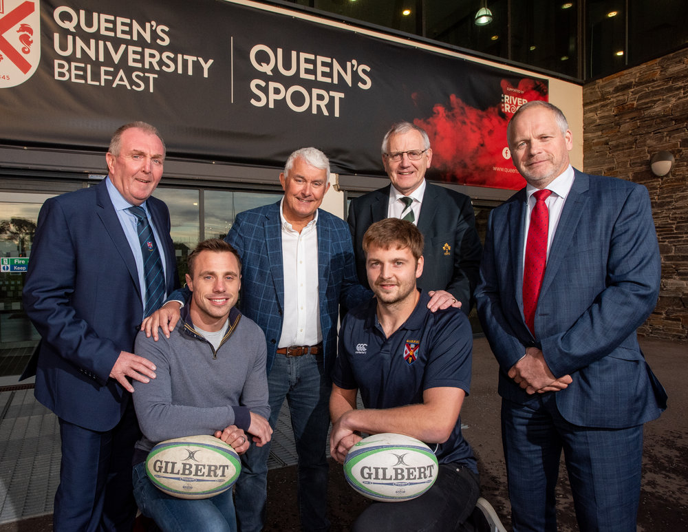 L-R Ian McAvoy, President of QUB Rugby Football Club, Tommy Bowe, Brendan Monaghan, Neueda CEO, Iain Henderson, Ian McIlrath, President of the IRFU and Trevor Ringland MBE.