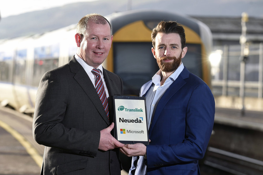 [L-R] Paul McGrattan, Head of I.T. at Translink with Shay Cullen, Delivery Manager for Data and Analytics at Neueda.