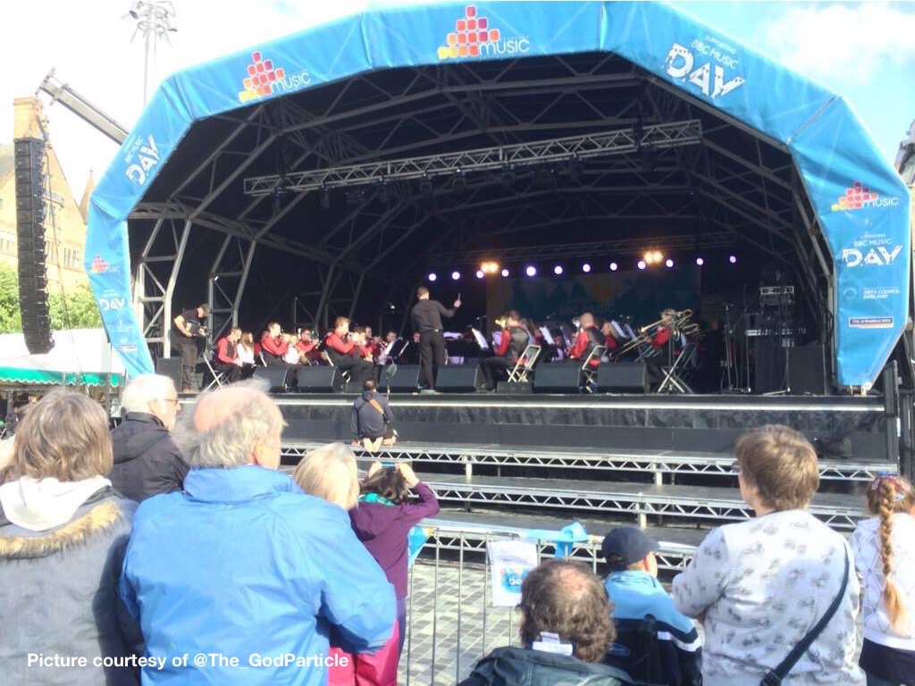 Hammonds on stage with Bradford Music Service Youth Band