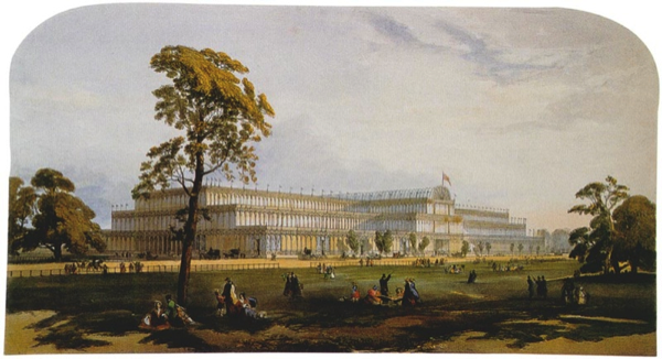 The Crystal Palace painted in 1851 when the Great Exhibition opened. Photo used under Wikimedia Commons License.