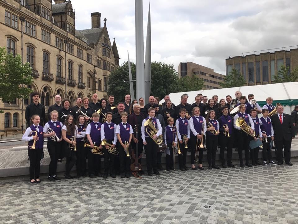 At Centenary Square with Bradford Music Service Youth Band, Shri. Jasdeep and Marc.