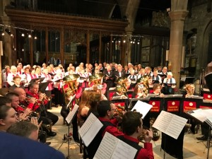 The band and choir performing in Halifax Minster