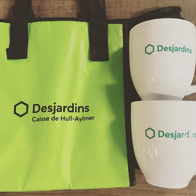 Breakfast and Lunch.  Today's project for Desjardins. #wemakecoolstuff #accentlogos #desjardins #promo #promoproducts #ottawa