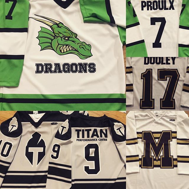 Spring season jerseys keeping us busy this time of year. Plenty more on the go. #accentlogos #wemakecoolshit #springhockey #customjerseys #titanperformance #ottawa #customshirts