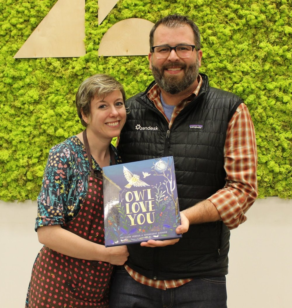 A big thank you to  Matthew Heroux   and   Wednesday Kirwan  who did a reading and live illustration at the ceremony of the new book, Owl Love You, available on Amazon.