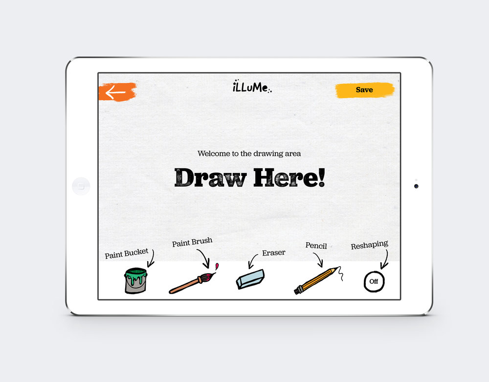 The app also includes a drawing area where users can create completely custom characters.