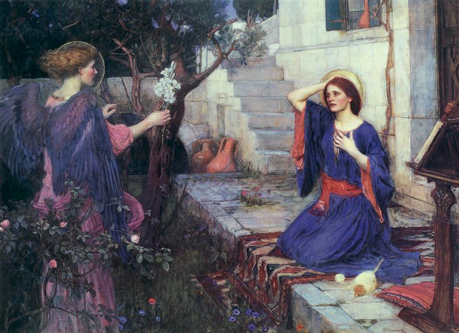 The Annunciation,  by John William Waterhouse (a Pre-Raphaelite artist)