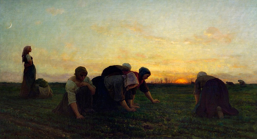 The Weeders,  by Jules Breton. I love the women in Breton's paintings; hardworking, dancing round campfires, arm-in-arm, at prayer. They are full-hearted, full-bodied souls.