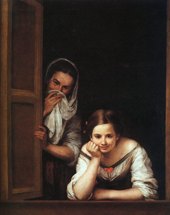 Two Women at a Window,  by Bartolome Esteban Murillo. One of my favorite of his paintings. I love the impish fun.