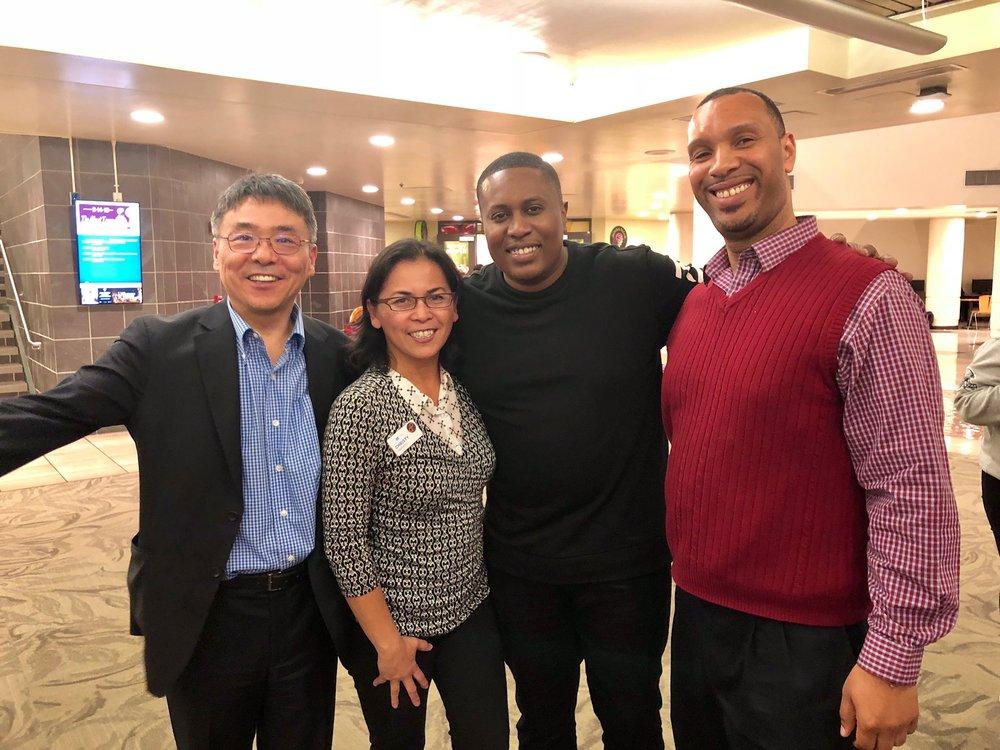 CSUS Center for Entrepreneurship Director & SEA Advisor Dr. Seung Bach, SEA Alumna Christy Serrato and SEA 2018 Fellow Aku Covington with Rapid Ramen Entrepreneur Chris Johnson (middle)
