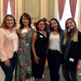 Class of 2018 Fellows  Tamar Foster ,  Samantha Contreras  &  Anastasia Peychev  with Board Member/Alumna/Mentor  Laurie Dakin  and Program Director/Alumna  Christy Serrato